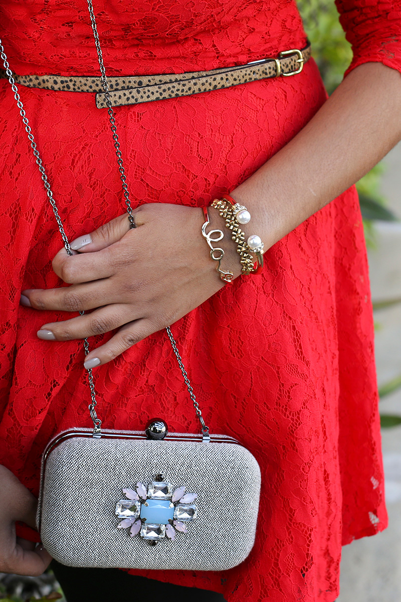 Wearing leopard print belt from Target, INC pearl bracelet, J.Crew bracelet, Forever 21 Love Bracelet and Ann Taylor  Clutch