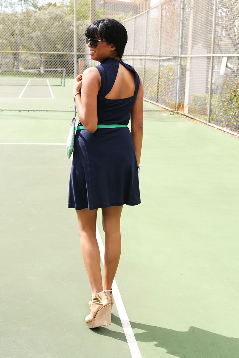 The back of the Lacoste Sleeveless Fit & Flare Polo Dress