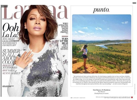 Latina Magazine Feature on traveling and lifestyle August 2014