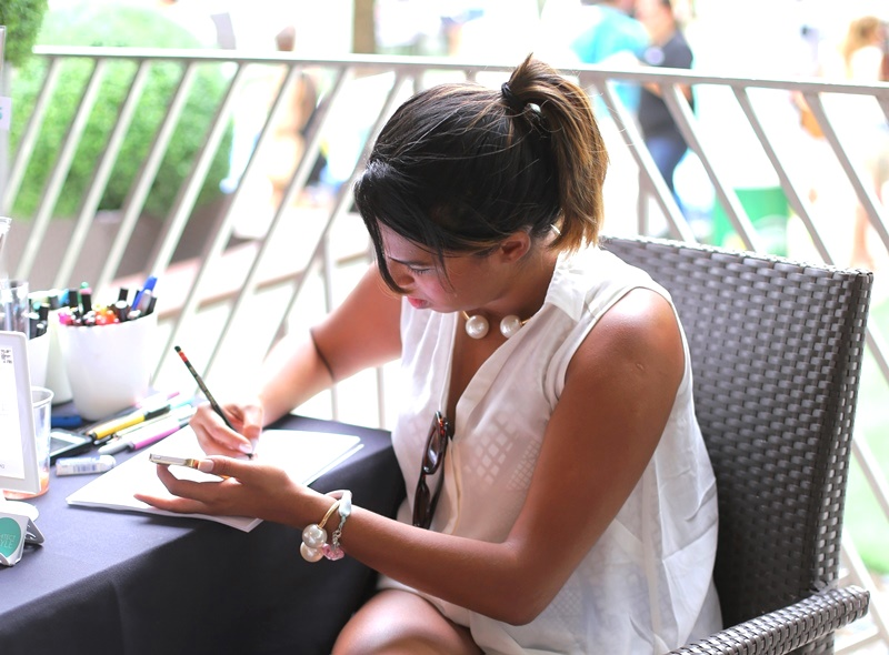 Live drawing at last years ESCAPE Miami Lounge during Swim Fashion Week