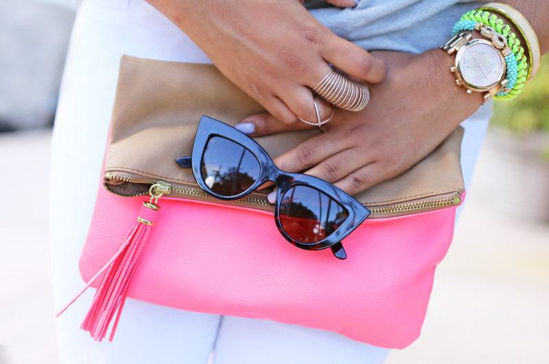 H&M color block clutch (similar here), Bebe Cat Eye Sunglases (Similar here)