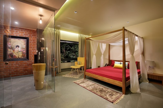 Modern bedroom design with contemporary canopy