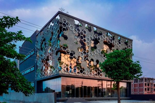 Hexagonal Facade Design Emerged Buffer Of Stratifying