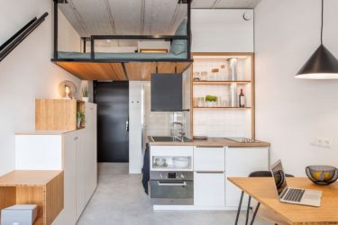 kitchen tiny room dorm designs space student housing bed living shame loft curbed island inspired apartment puts saving architecture cabinets