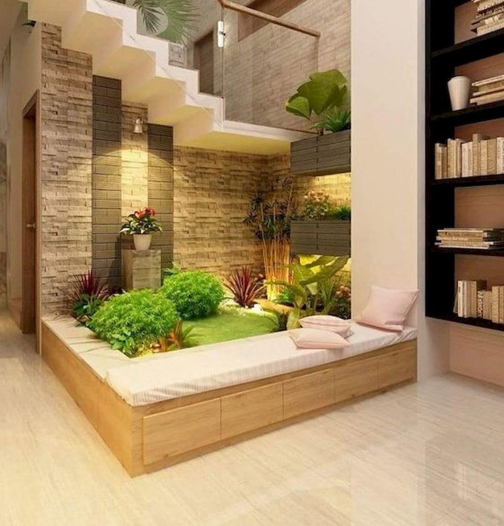 Unique Decoration Ideas For Indoor Garden Under Stairs The | Under Stair Garden Design | Plant | Ideas | House | Stair Case | Pebble Garden