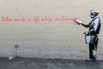 The latest work from street artist Banksy is seen in the Lower East Side neighborhood of New York City.