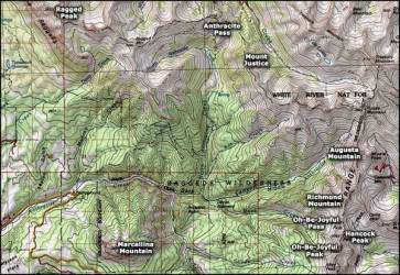 wilderness raggeds national mountain forest map hiking area colorado trails trail west maps areas campgrounds covered bridge google