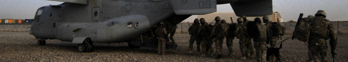 British soldiers boarding a US Osprey - Trust between nations is difficult to foster
