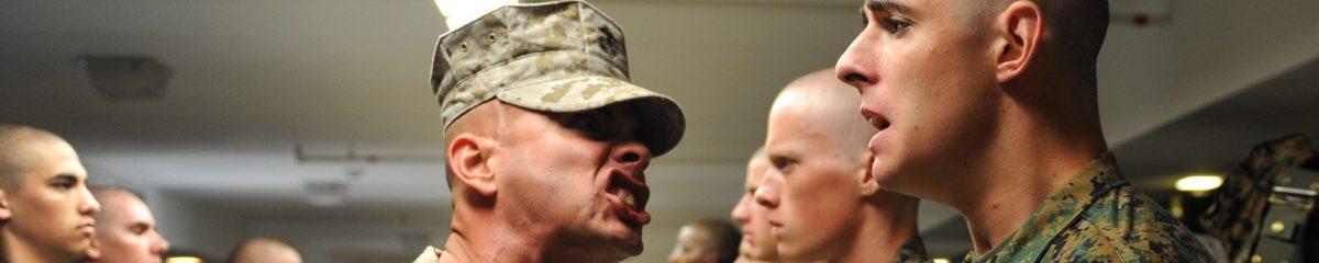 USMC Instructors shouting at officer candidates
