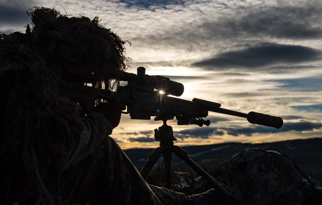 A sniper undergoing some training and development