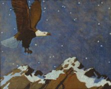 Eagle Flying over Mountains at Night