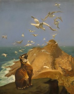 a tiger watches the gulls