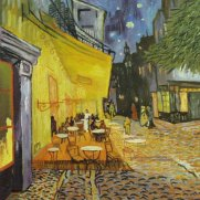 Outdoor cafe at night