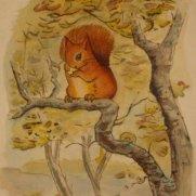 Watercolor of Squirrel in Tree
