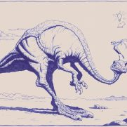 Rick Bernal, Illustrator, Dino and Bird. This Ballpoint ink drawing was done by our dear friend Rick Bernal to illustrate key pricipals of character interaction, composition, and lighting for our school