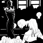 Lilliah Campagna, Instructor, Ink Graphic Novel Page 2, Digital Black and White Panel