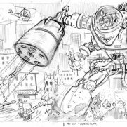 Bill Hauser, Instructor, Wraparound Robot LP/CD Concept Art, Pencil on Paper