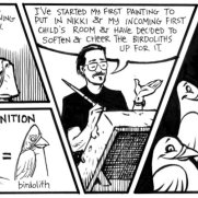 David Witt, Instructor, Birdolith Daily Comic Strip Page, Pen & Ink & Brush on Paper