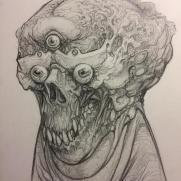 David Witt, Instructor, Trippple-Eyeskull, Pencil Drawing