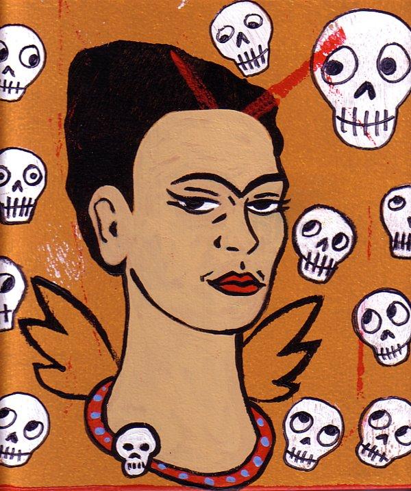Frida Angel surrounded by skulls