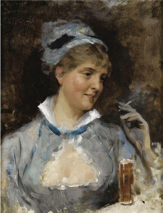 """Image of """"Nainen Savuke Kädessä"""" by Albert Edelfelt."""