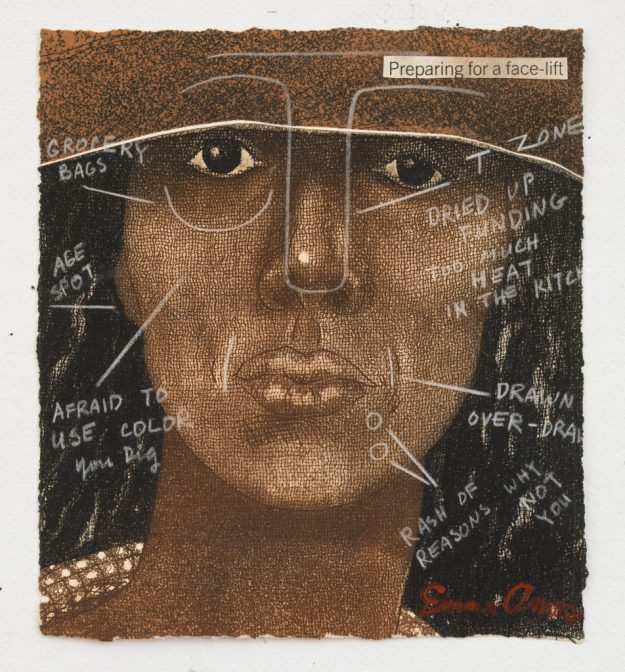 Emma Amos (American, born 1938). Preparing for a Face Lift, 1981. Etching and crayon, 8 ¼ × 7 ¾ in. (21 × 19.7 cm). Courtesy of Emma Amos. © Emma Amos; courtesy of the artist and RYAN LEE, New York. Licensed by VAGA, New York