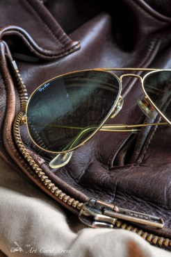 Leather jacket and Aviators detail 1