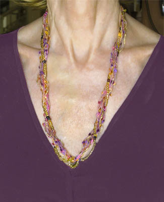 ladder yarn and bead necklace the artful crafter