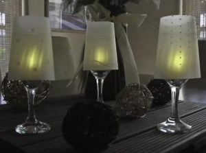 Wine Glass Lampshades in Use