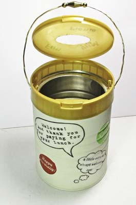 Donation Can DIY: Lid Lifts Up for Emptying