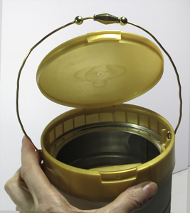 Donation Can: Insert Wire Handle in Holes