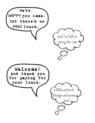 Donation Can Word & Thought Bubbles
