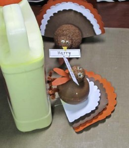 Turkey Place Cards - Glue Body to Tail Feathers Assembly and Prop to Dry