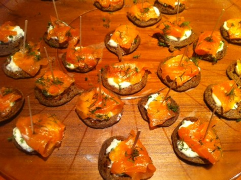 Smoked Salmon Blinis with Chive Creme Fraiche and Dill