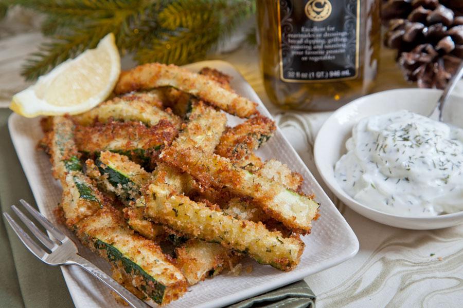 Crunchy Zucchini Sticks w/ Yogurt Dill Sauce