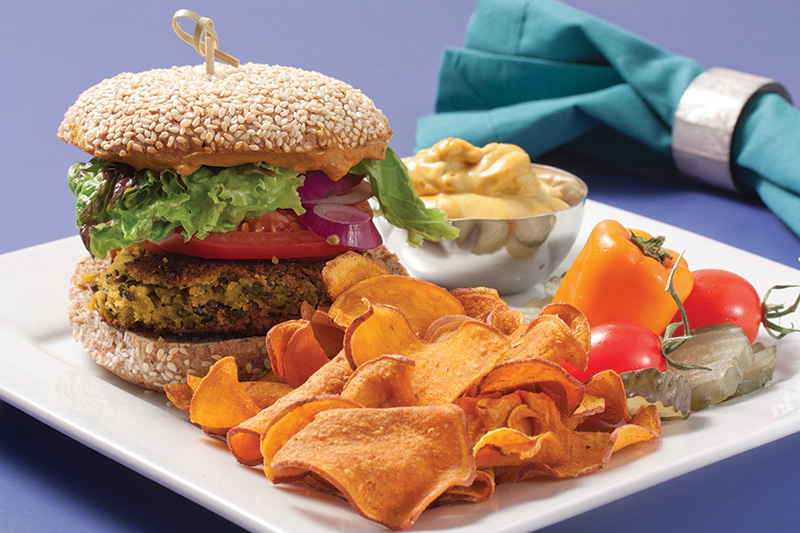 Chickpea Burger and Baked Sweet Potato Chips