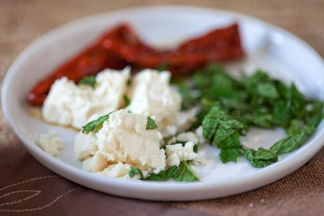 Sun-dried tomatoes, feta and mint