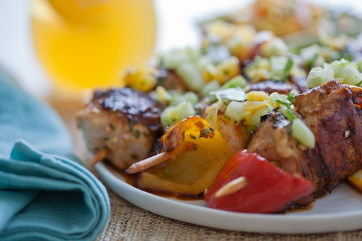 Grilled Chicken Skewers with Orange Cucumber Cilantro Salsa