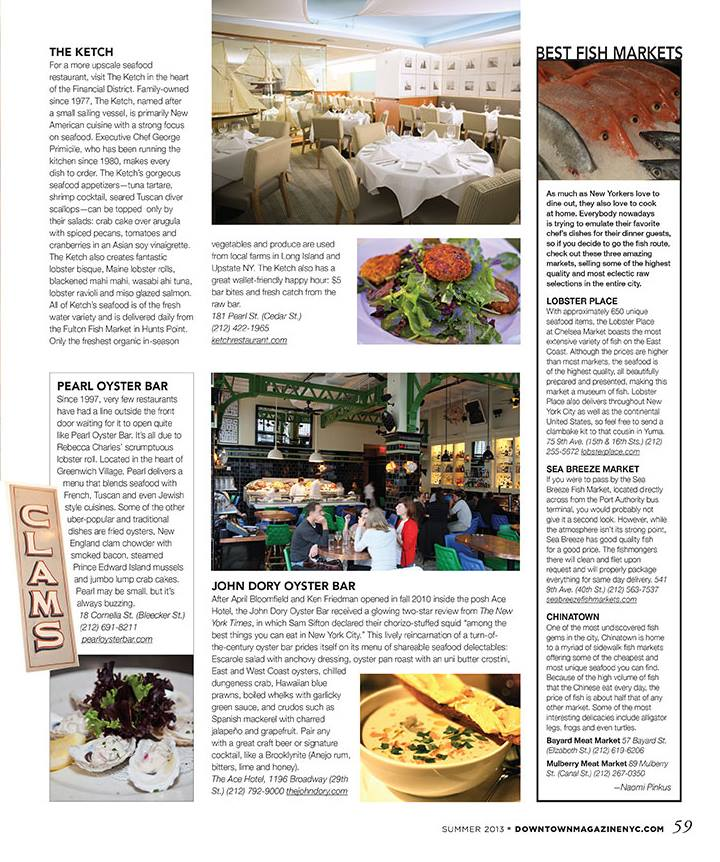 New article in downtown magazine summer issue top - Bluewater grill seafood restaurant oyster bar ...