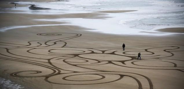Sand Art Sean Corcoran The Copper Coast Waterord Beach Ireland 2