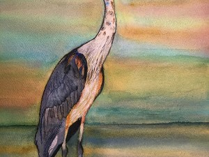 Blue Heron at Sunrise by Jocelyn Bichard