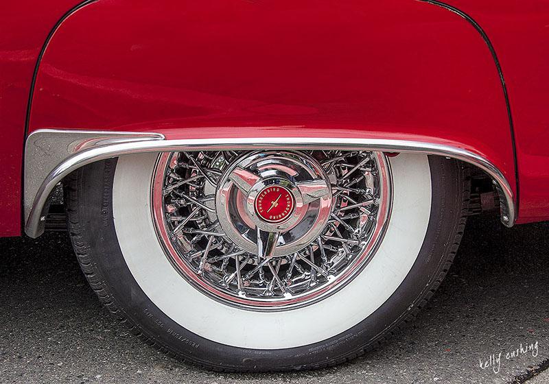 Vintage Red Thunderbird Wheel by Kelly Cushing