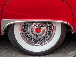 Vintage Red Thunderbird Wheel by Kelly Cushing
