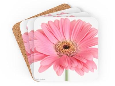 Pink Gerber Daisy Coaster Set
