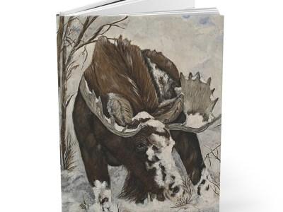 Winter Moose Hardcover Journal