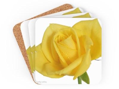 Yellow Rose Coaster Set