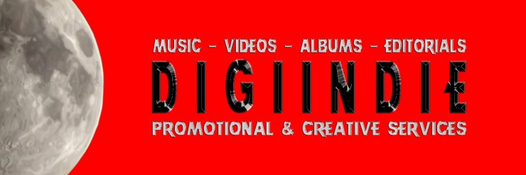 Digiindie's Twitter Banner for 2015, featuring their logo and the following copy text: Music, Videos, Albums, Editorials, [linebreak] [their logo] [another linebreak], Promotional & Creative Services.