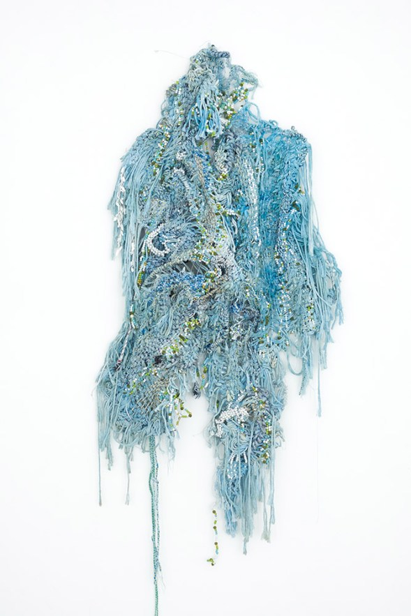 "Igshaan Adams, ""Look Again, Look Closer!"", 2018. Rope, beads, twine, wire, blue oxide, dye. 140 x 67 cm. Courtesy Blank Projects."