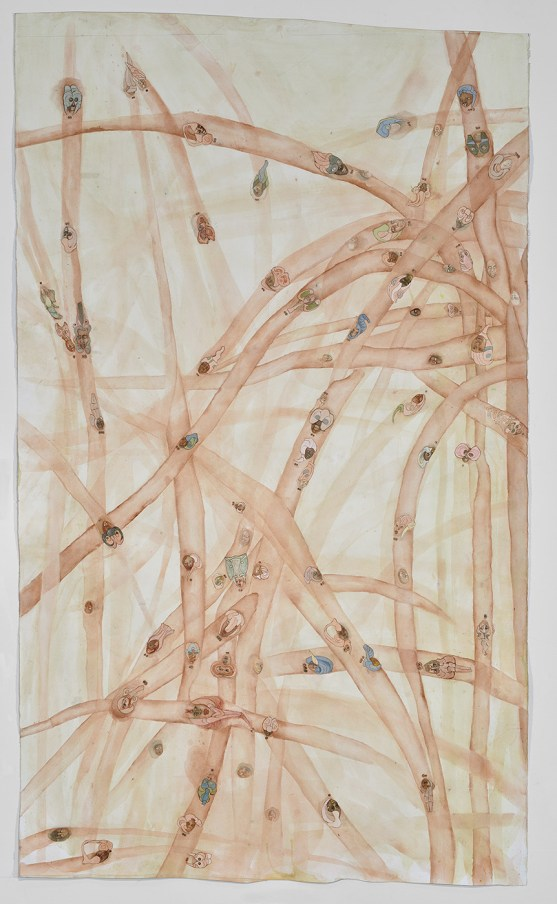 "Ellen Gallagher, ""Watery Ecstatic"", 2018. Watercolor, oil, pencil, varnish and cut paper on paper. 90 1/8 x 50 1/8 inches. 229 cm x 150 cm. © Ellen Gallagher. Courtesy Gagosian."