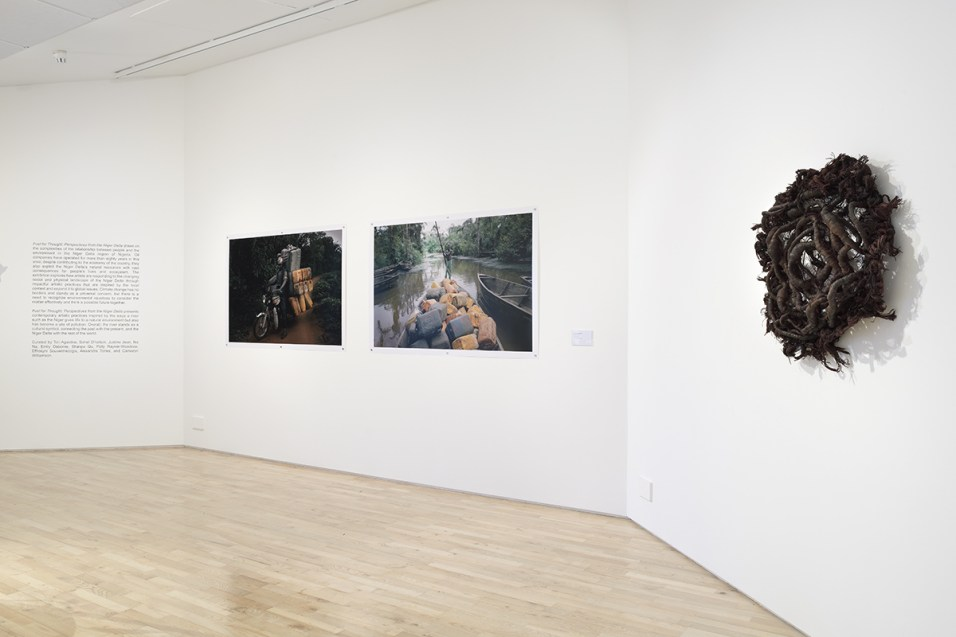 """Exhibition view """"Fuel for Thought : Perspectives from the Niger Delta"""", 2019. Photo : Douglas Atfield."""